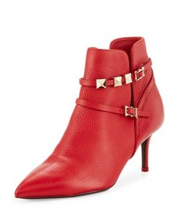 Valentino Leather Pointed Toe Buckle Bootie 0Ro