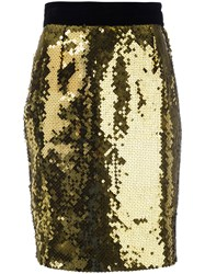 Moschino Vintage Sequin Pencil Skirt Yellow And Orange