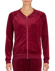 Honey Punch Velour Zip Up Jacket Burgundy