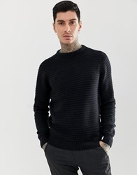 Soul Star Ribbed Crew Neck Jumper Navy