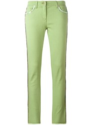 Etro Lateral Strap Cropped Jeans Green