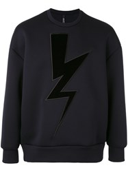 Neil Barrett Lightning Sweatshirt Men Cotton Polyurethane Viscose M Blue
