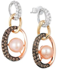 Le Vian Freshwater Pearl 7Mm And Diamond 3 4 Ct. T.W. Link Earrings In 14K White Yellow And Rose Gold Pink