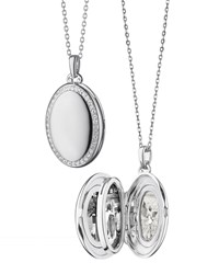 Monica Rich Kosann Sterling Silver Midi 4 Image Locket Necklace With White Sapphires 32