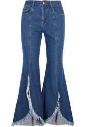 Sjyp Steve J And Yoni P Frayed Mid Rise Flared Jeans Blue