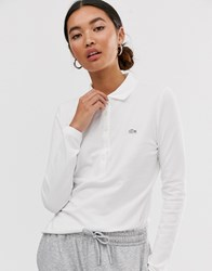 Lacoste Long Sleeve Polo Shirt With Croc Badge Logo White