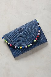 Anthropologie Rio Pom Pom Clutch Navy