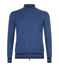 Armani Jeans Knitted Zip Up Fleece Male Blue