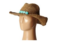 Hat Attack Raffia Crochet Cowboy Tobacco Turquoise Stones Traditional Hats Brown