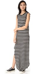 The Great Great. Sleeveless Knotted Tank Dress Black And Cream Stripe