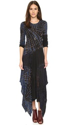 Raquel Allegra Long Sleeve Handkerchief Dress Black And Blues Tie Dye