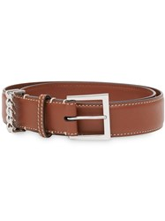 Burberry Chain Detail Leather Strap Brown