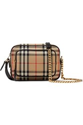 Burberry Leather Trimmed Checked Cotton Canvas Shoulder Bag Brown