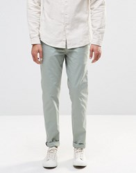 Pull And Bear Pullandbear Slim Chinos In Pale Green Green Stone