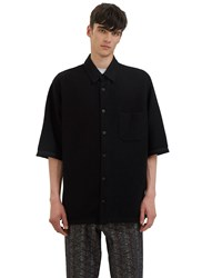 Aganovich Oversized Boxy Fit Wool Shirt Black
