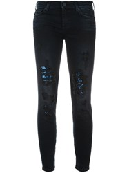 7 For All Mankind Sequined Skinny Jeans Blue