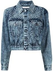 Alice Olivia Studded Denim Jacket Women Cotton M Blue