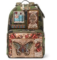 Valentino Leather Trimmed Appliqued Camouflage Print Canvas Backpack Green