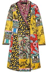 Etro Embroidered Printed Silk Twill Coat Yellow