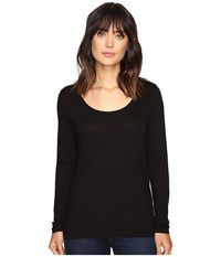 Lilla P Pima Modal Long Sleeve Scoop Neck Black Women's Clothing