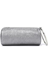 Kara Duffel Metallic Cracked Leather Clutch Silver