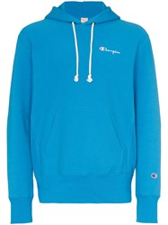 Champion Logo Embroidered Hooded Cotton Jumper Blue