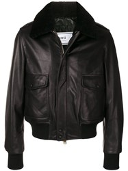 Ami Alexandre Mattiussi Paris Shearling Collar Bomber Jacket Black
