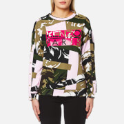 Kenzo Women's Broken Camo Cotton Molleton Logo Sweatshirt Pale Khaki Multi