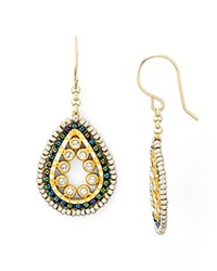 Miguel Ases Mini Beaded Oval Drop Earrings Multi Gold