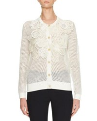 Chloe Crochet Flower Perforated Cardigan White