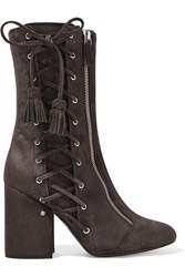 Laurence Dacade Marcy Lace Up Suede Boots Dark Gray