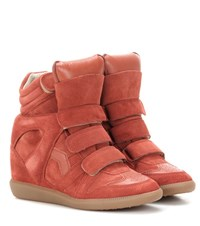 Isabel Marant Etoile Bekett Leather And Suede Sneakers Red