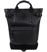 Tom Ford Messenger Leather And Suede Backpack Black