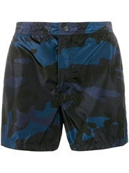 Valentino Camo Print Swimming Trunks Blue