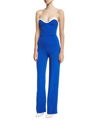 Thierry Mugler Cady Bustier Jumpsuit Blue White Blue White