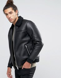 Barney's Barneys Faux Leather Bomber With Fleece Collar Jacket Black