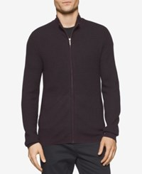 Calvin Klein Men's Plaited Zip Up Sweater Dark Chestnut Combo