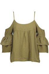 W118 By Walter Baker Tara Cutout Gathered Twill Top Army Green