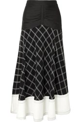 Self Portrait Paneled Checked Matte Satin Midi Skirt Navy
