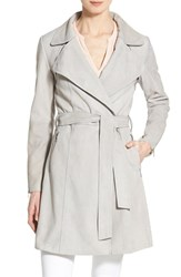 Women's Dawn Levy 'Giselle' Suede Wrap Coat Grey