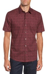 Zachary Prell Rinaldi Regular Fit Pattern Sport Shirt Maroon