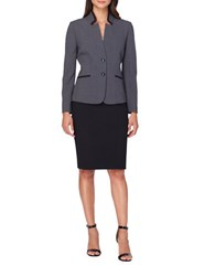 Tahari By Arthur S. Levine Plus Two Piece Solid Jacket And Skirt Set Grey Black
