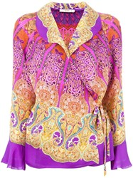 Etro Side Tie Wrap Blouse Pink Purple
