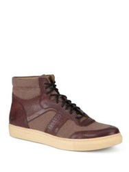 Andrew Marc New York Concord Leather And Canvas High Top Sneakers Oxblood Cream