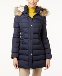 Inc International Concepts Faux Fur Trim Hooded Puffer Coat Only At Macy's Marine