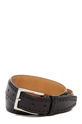 Cole Haan Feather Stitched Edge Perforated Genuine Leather Belt Black