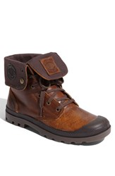Men's Palladium 'Baggy' Leather Roll Down Boot Sunrise Chocolate