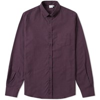 Sunspel Button Down Check Shirt Red