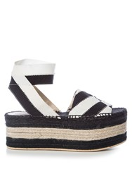Stella Mccartney Striped Bi Colour Espadrille Sandals Black White