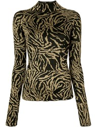 Proenza Schouler Zebra Jacquard Turtleneck Top Black